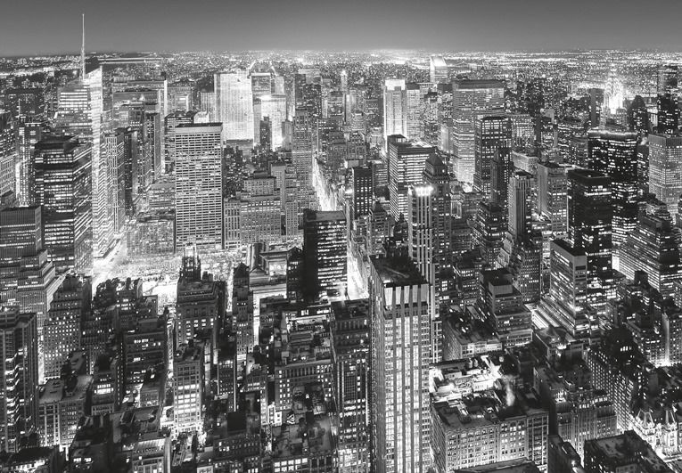 Черно белые  ночного города